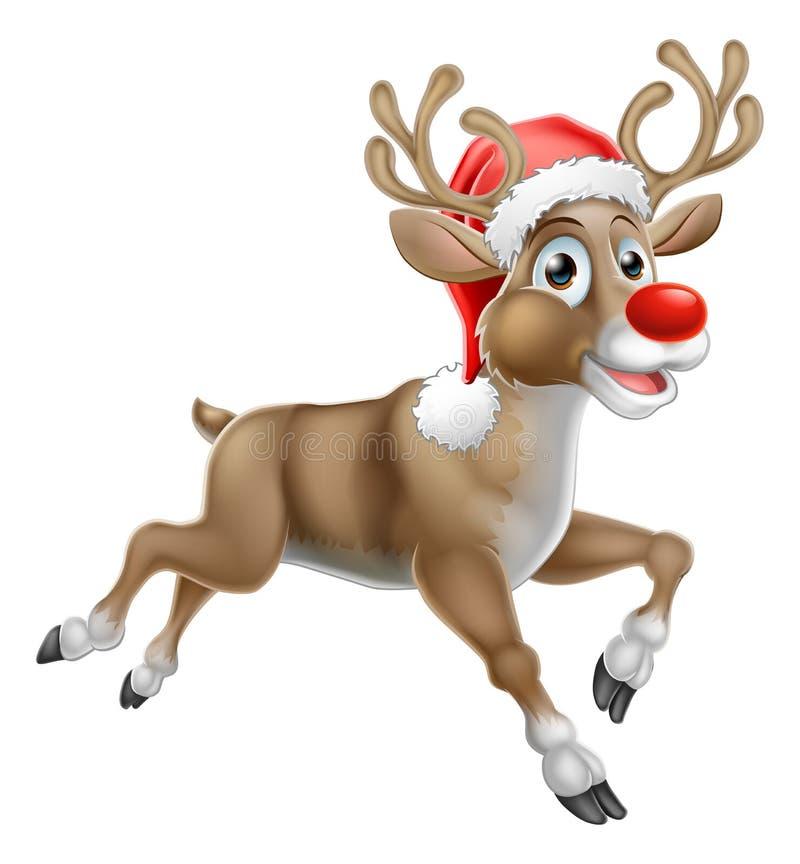 Ren-laufende Weihnachtskarikatur stock abbildung