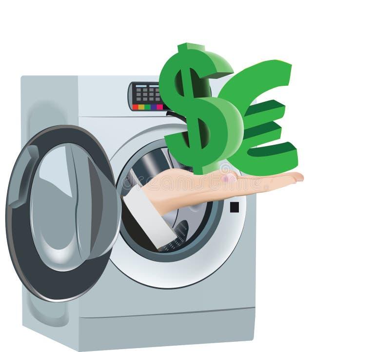Ren maskin för valutalokalvårdtvagning royaltyfri illustrationer