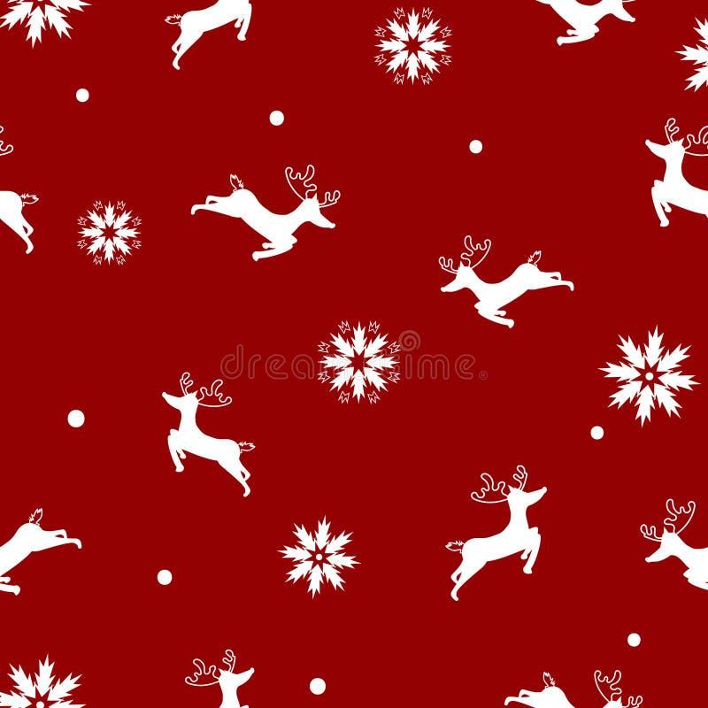 Ren mit Schneeflocken, frohe Weihnachten, nahtloses Muster eleg lizenzfreie abbildung