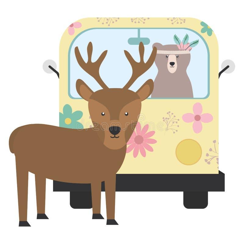 Ren och björn i hippie skåpbil bohem stil royaltyfri illustrationer
