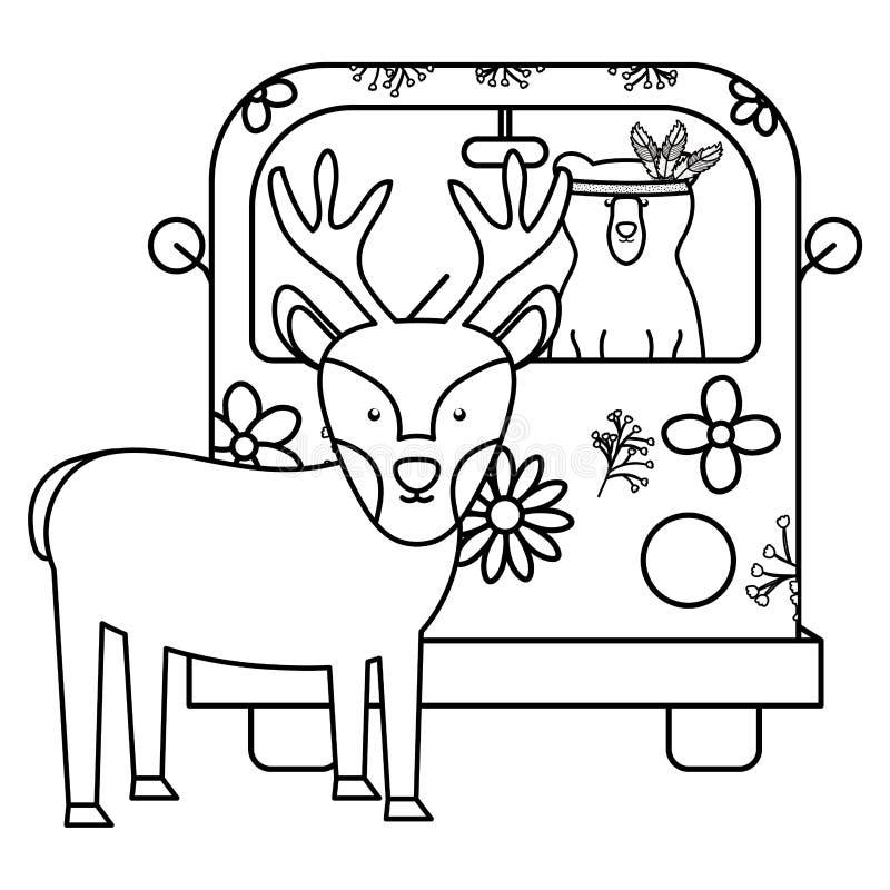 Ren och björn i hippie skåpbil bohem stil stock illustrationer