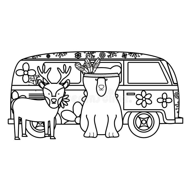 Ren och björn i hippie skåpbil bohem stil vektor illustrationer