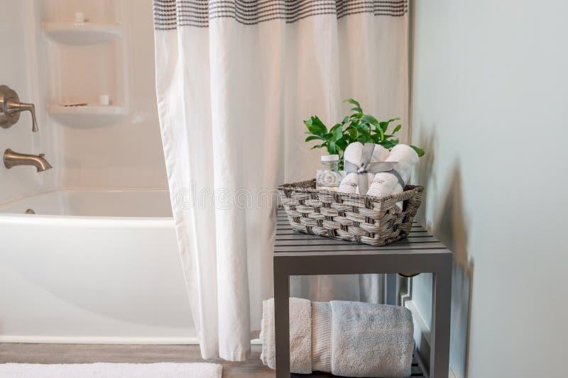 Ren och ljus badrumdekor i grått och vitt royaltyfria foton