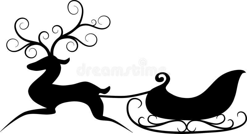 Ren och sleigh vektor illustrationer
