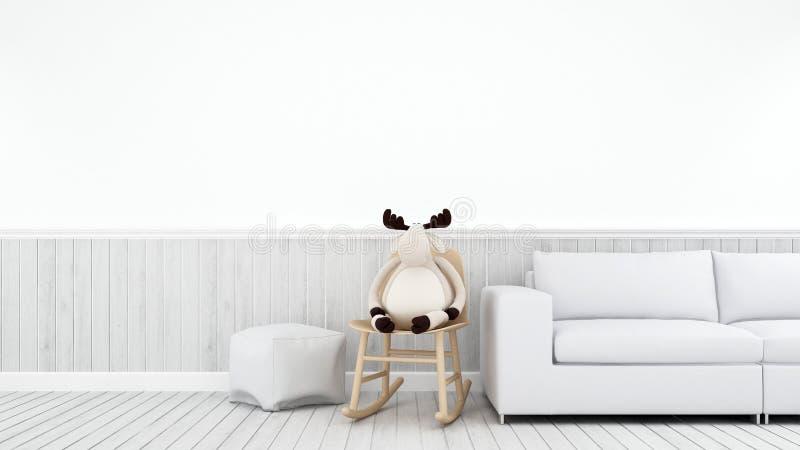 Ren på gungstol i vit kidroom eller vardagsrum - tolkning 3d stock illustrationer