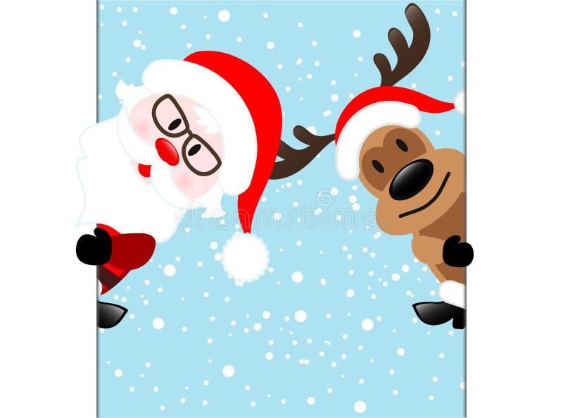 Ren & Santa Claus Diagonal Banner på blåttsnöbakgrund, royaltyfri illustrationer