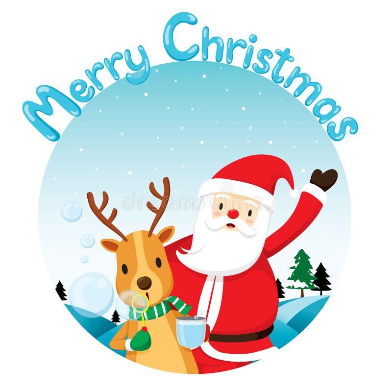 Ren-Schlagblase mit Santa Claus stock abbildung