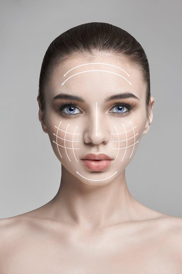 Ren skönhethudnatur, skincareskönhetframsida, kvinna, makeup, lyftande facelift, linje, massage Naturlig Spa skönhetsmedel som är arkivbilder
