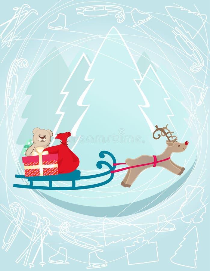 Ren som drar en släde med julgåvor royaltyfri illustrationer