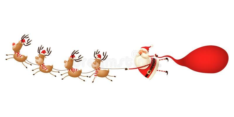 Ren som drar Santa Claus - gullig rolig julillustration som isoleras på vit royaltyfri illustrationer