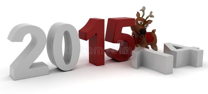 Ren som kommer med i det nya året vektor illustrationer