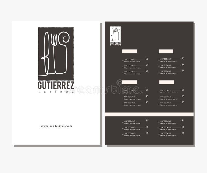 Ren svartvit restaurangmeny, malldesign Meny för kafé för design för matreklamblad plan vektor illustrationer