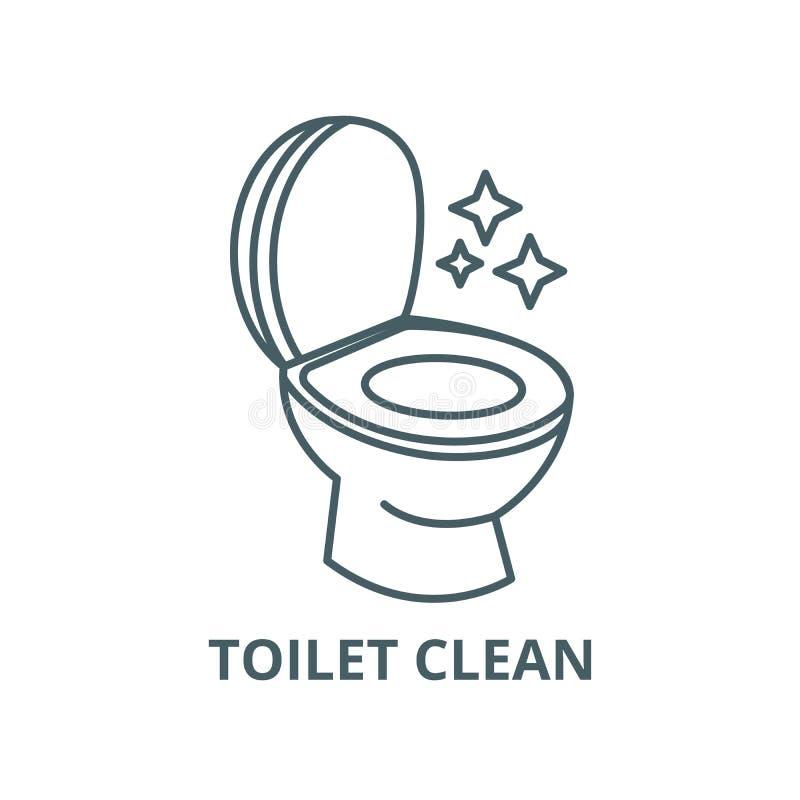Ren toalett, rengörande servicevektorlinje symbol, linjärt begrepp, översiktstecken, symbol vektor illustrationer