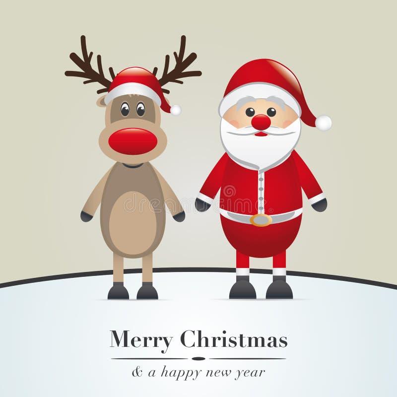 Ren und Weihnachtsmann vektor abbildung