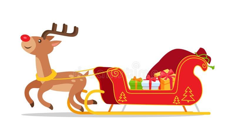 Ren-und Weihnachtspferdeschlitten mit Geschenk-Vektor stock abbildung