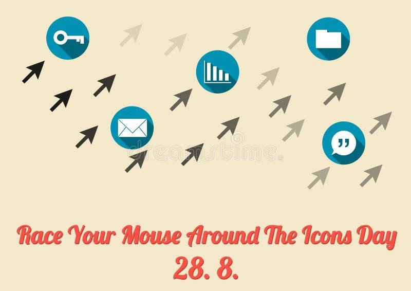 Ren uw muis rond de affiche van de pictogrammendag (28 8 jaarlijkse celeb vector illustratie