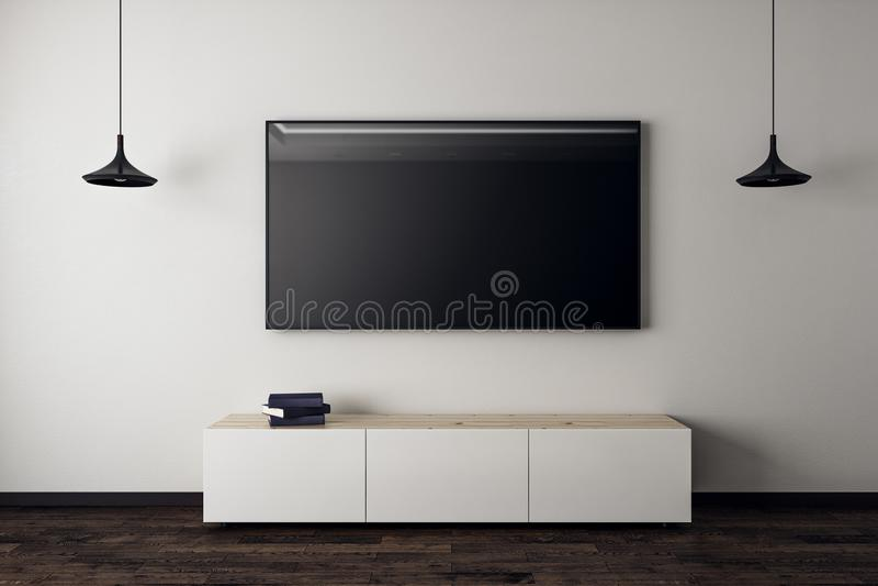 Ren vardagsrum med tom TV vektor illustrationer