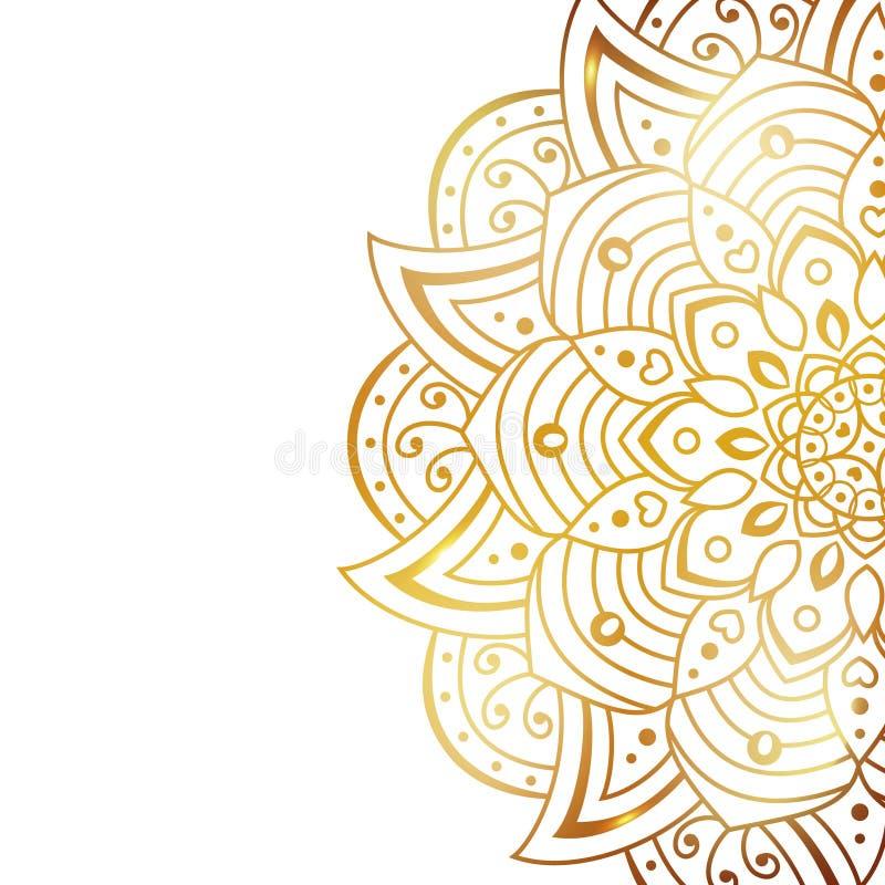 Ren vit r?kning med den guld- h?rliga blomman Guld- vektormandala som isoleras p? vit bakgrund Ett symbol av liv och stock illustrationer