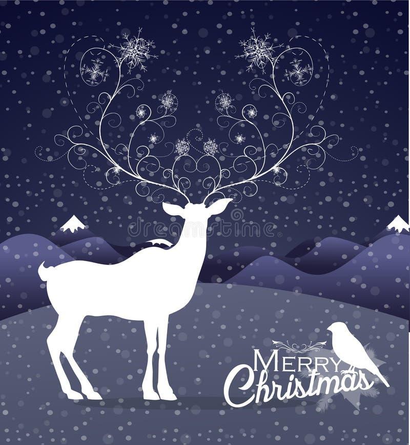 Rena abstrata no fundo do Natal da noite ilustração do vetor