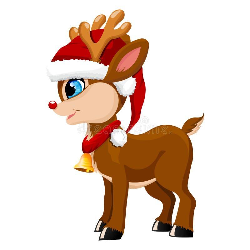 Rena adorável no chapéu de Santa ilustração stock