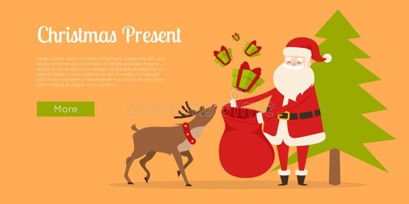A rena ajuda Santa a preparar presentes do Natal ilustração stock