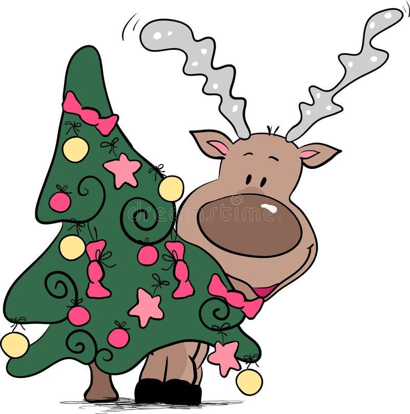 Rena atrás da árvore de Natal ilustração stock