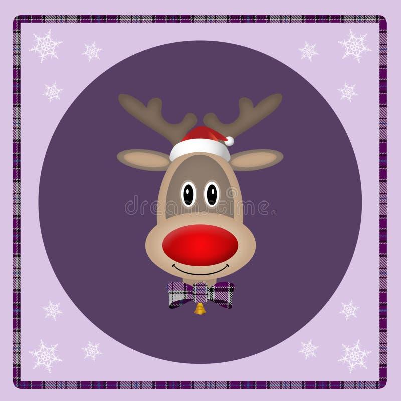 Rena bonito com o chapéu de Santa no fundo roxo, projeto de cartão do Natal ilustração royalty free