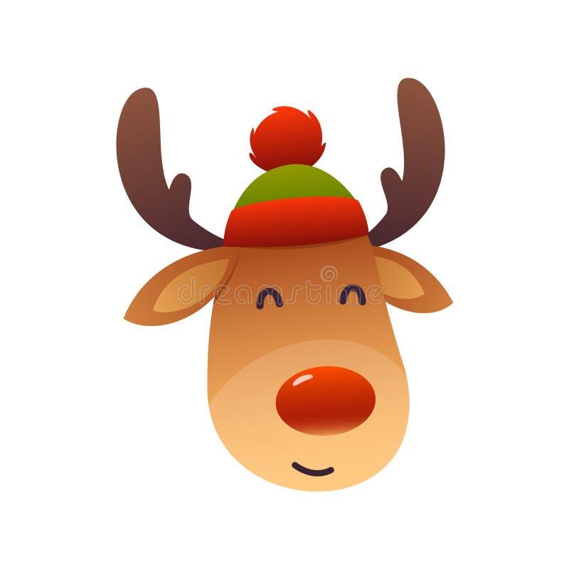 Rena bonito do Natal com vetor vermelho do personagem de banda desenhada do nariz ilustração do vetor