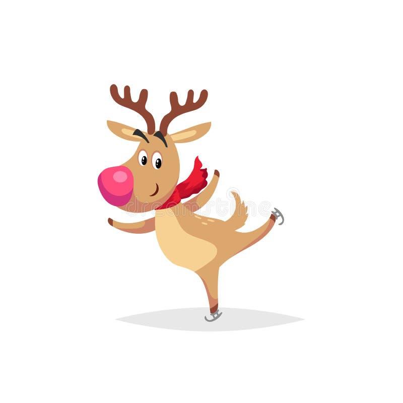 A rena bonito dos desenhos animados com o nariz e o lenço vermelhos grandes patina Symbold do Natal e do inverno Grande para cart ilustração royalty free