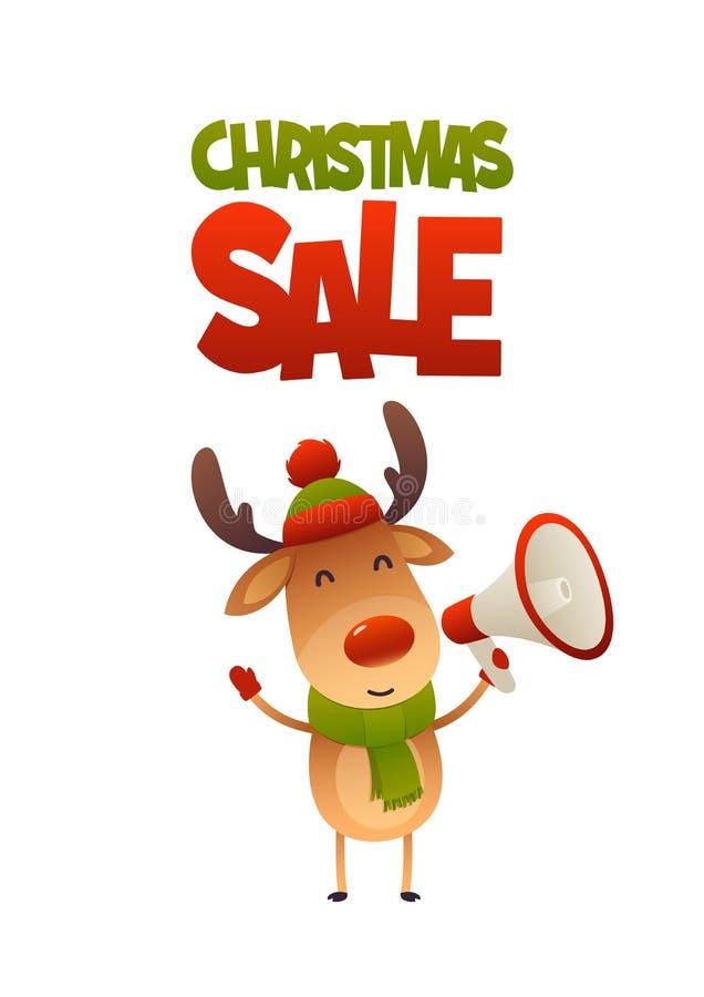 Rena bonito dos desenhos animados com venda do Natal do megafone e do texto ilustração do vetor
