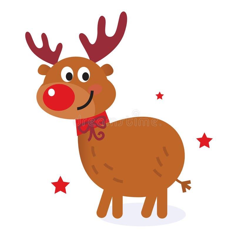 Rena bonito dos desenhos animados do Natal ilustração do vetor