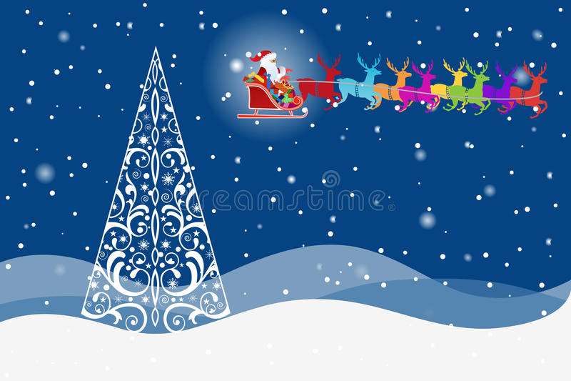 Rena com Santa e a árvore bonita ilustração stock