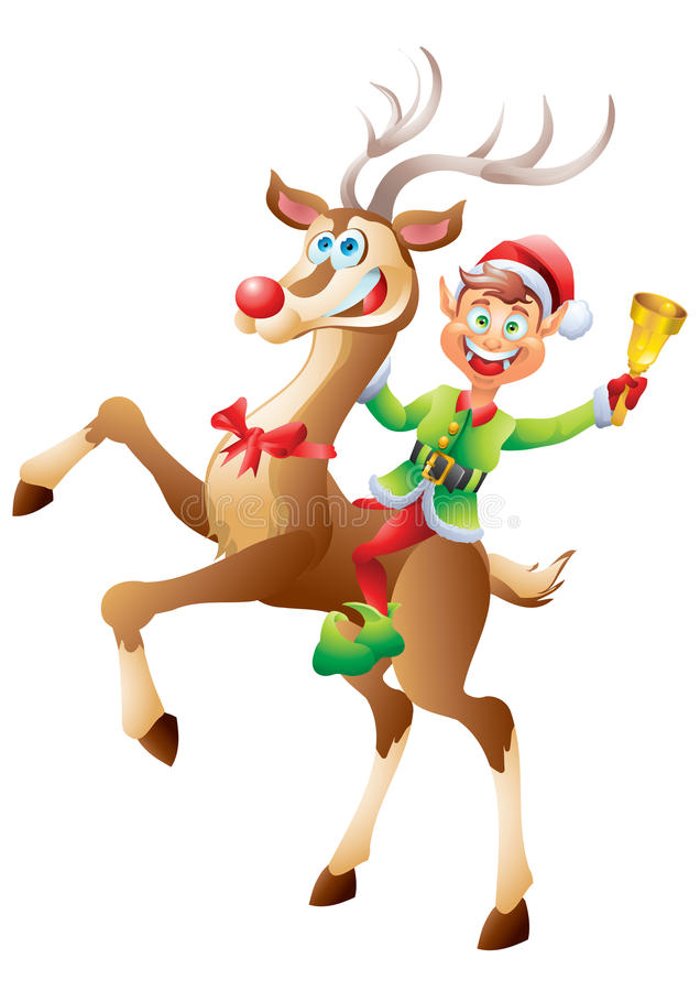 Rena da equitação do duende com o sino de Natal isolado ilustração royalty free