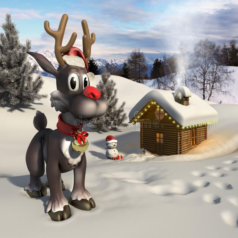 Rena de Rudolph em uma paisagem do Natal ilustração stock