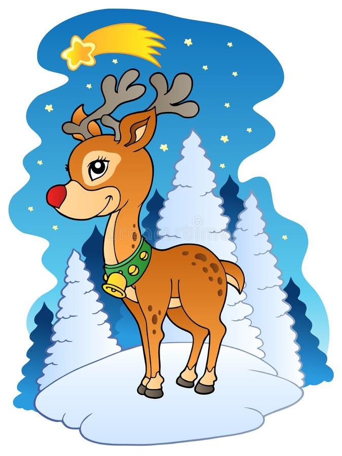 Rena do Natal com cometa ilustração do vetor