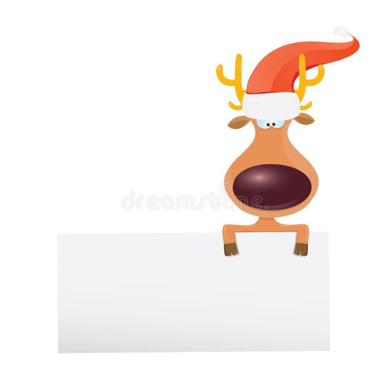 Rena do Natal do vetor que guarda a bandeira branca ilustração royalty free