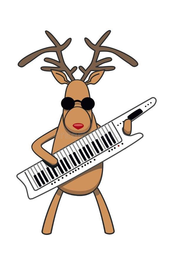 A rena do Natal joga o klavitare ilustração do vetor