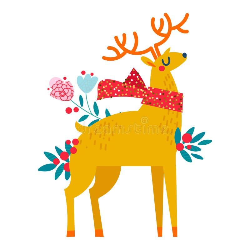 Download Rena do Natal nas flores ilustração do vetor. Ilustração de infância - 107529360