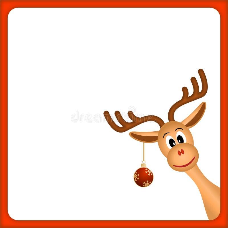Rena do Natal no frame vazio com beira vermelha ilustração stock