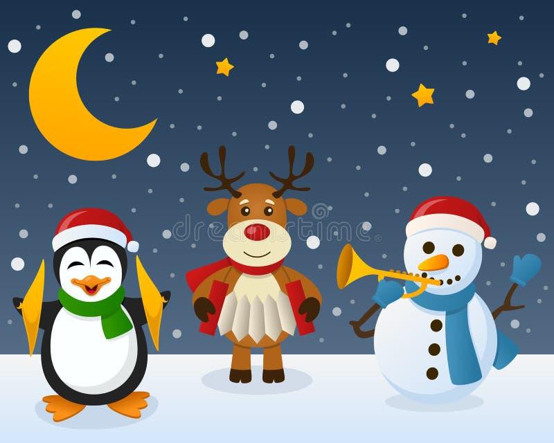 Rena do pinguim do boneco de neve na neve ilustração royalty free
