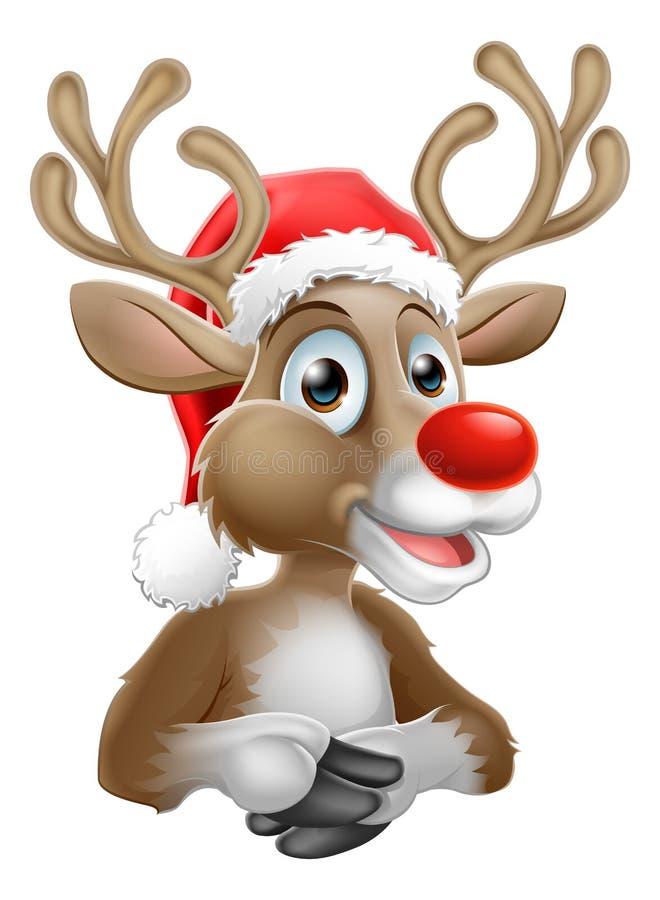 Rena dos desenhos animados com Natal Santa Hat ilustração stock