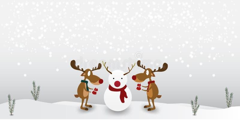 Rena dos desenhos animados do caráter bonito no fundo do boneco de neve do inverno Cartão para o Feliz Natal ilustração royalty free