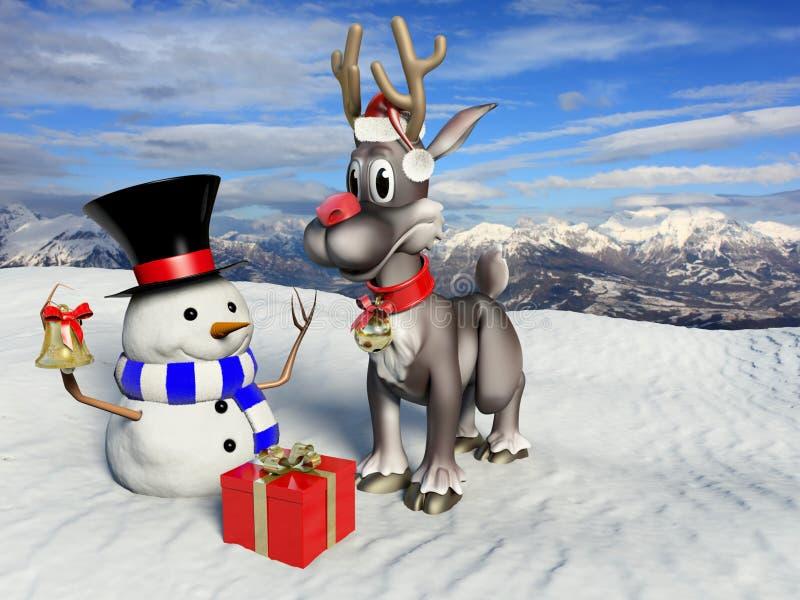 Rena e boneco de neve ilustração do vetor