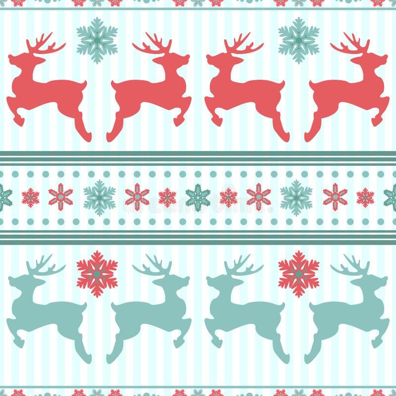 Rena e flocos de neve Textura sem emenda do Natal Inverno azul ilustração do vetor