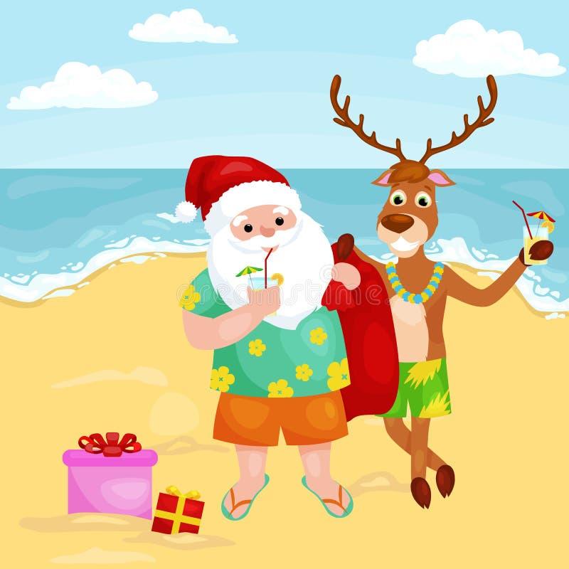 Rena e Papai Noel dos desenhos animados no chapéu festivo com cocktail ilustração royalty free