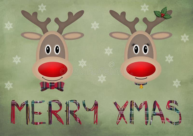 Rena engraçada bonito no fundo verde do vintage com Feliz Natal do texto ilustração stock