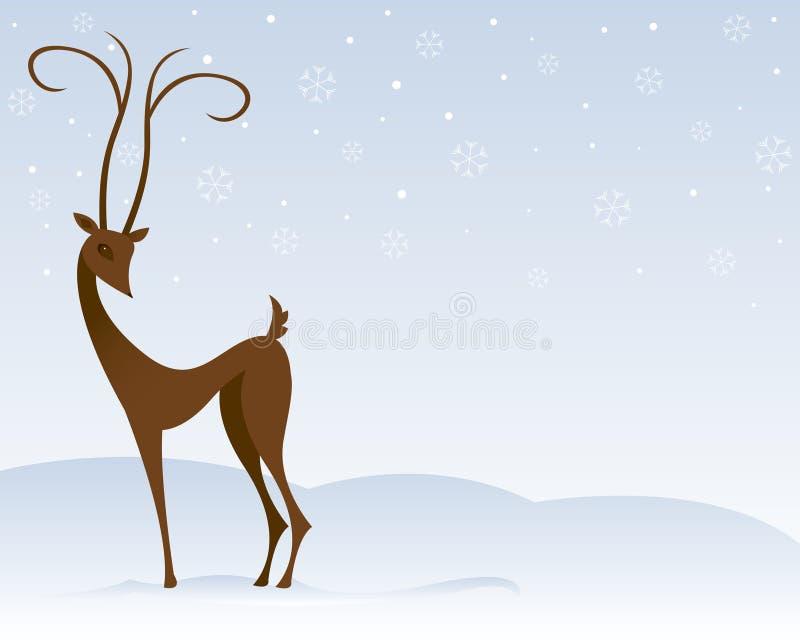 Rena na neve ilustração royalty free