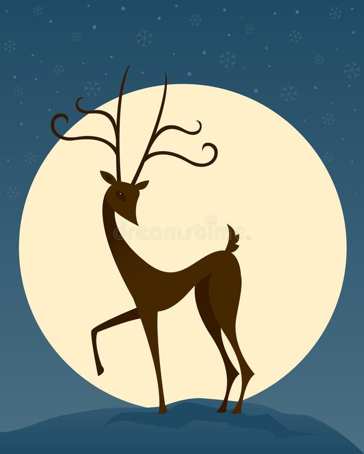 Rena na noite ilustração royalty free