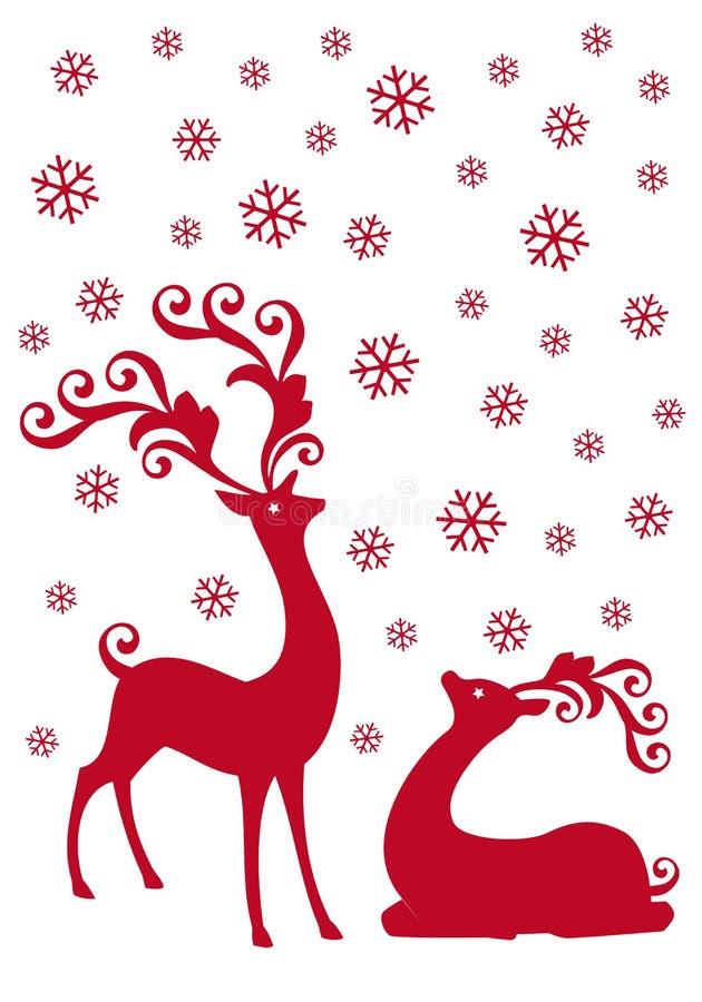 Rena na queda de neve,   ilustração royalty free