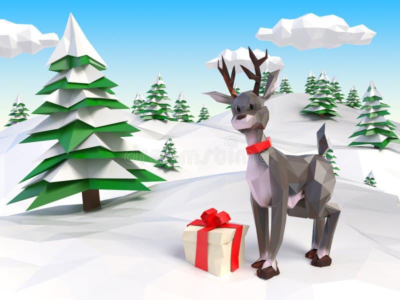 Rena no Natal ilustração stock